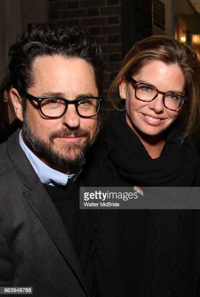 J Abrams and wife Katie McGrath attend 'The Play That Goes Wrong' Broadway Opening Night at the Lyceum Theatre on April 2 2017 in New York City