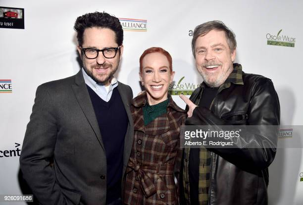 JJ Abrams Kathy Griffin and Mark Hamill attend the Oscar Wilde Awards 2018 at Bad Robot on March 1 2018 in Santa Monica California