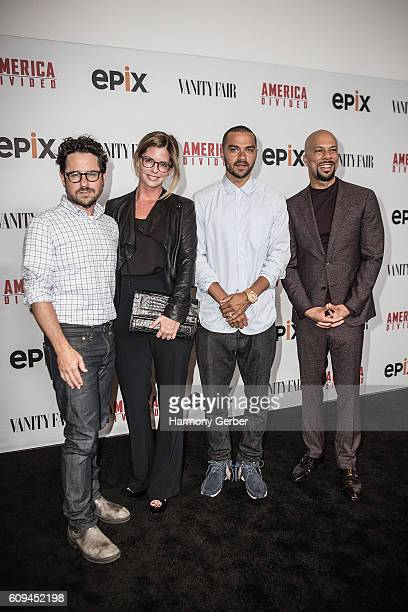J Abrams Katie McGrath Jesse Williams and Common attend the Premiere Of Epix's America Divided at Billy Wilder Theater at The Hammer Museum on...
