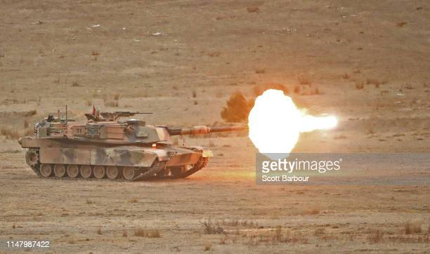 Abrams main battle tank fires during Exercise Chong Ju at the Puckapunyal Military Area on May 09 2019 in Seymour Australia Exercise Chong Ju is an...