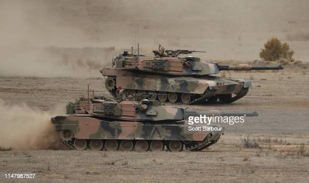 Abrams main battle tank in action during Exercise Chong Ju at the Puckapunyal Military Area on May 09 2019 in Seymour Australia Exercise Chong Ju is...