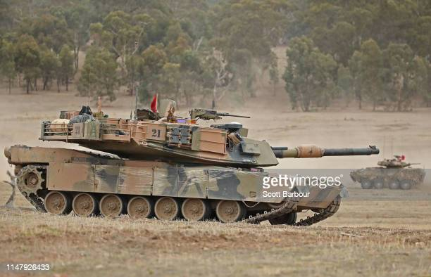 Abrams main battle tank prepares to fire during Exercise Chong Ju at the Puckapunyal Military Area on May 09 2019 in Seymour Australia Exercise Chong...