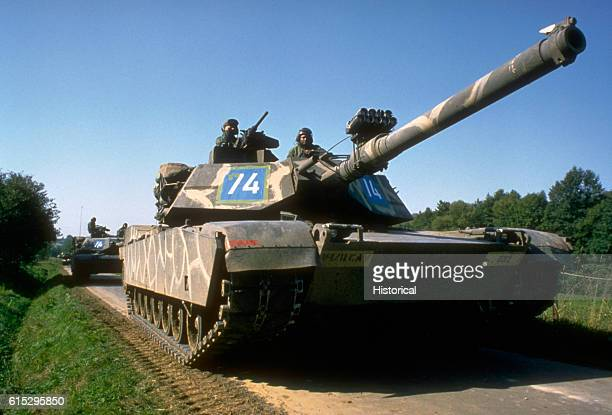 M1 Abrams main battle tanks of Company D 1st Battalion 11th Cavalry take part in the Confident Enterprise phase of Reforger/Autumn Forge '83 Laubach...