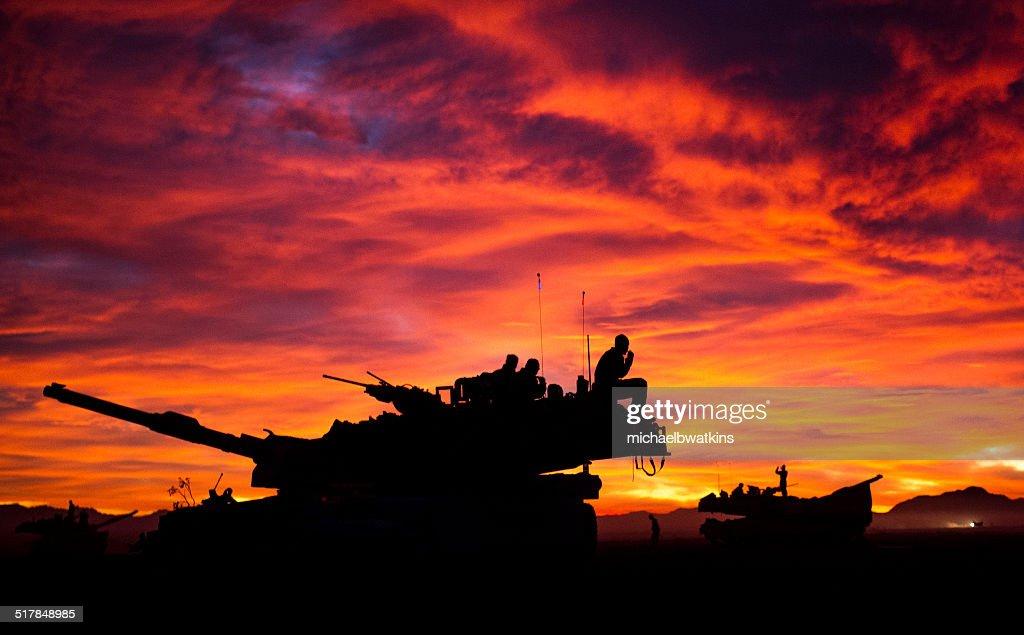 MIA1 Abrams Tank at Sunset : Stock Photo