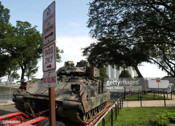 Abrams tank sits on a trailer before being moved in front of the Lincoln Memorial ahead of the Fourth of July Salute to America celebration on July 3...