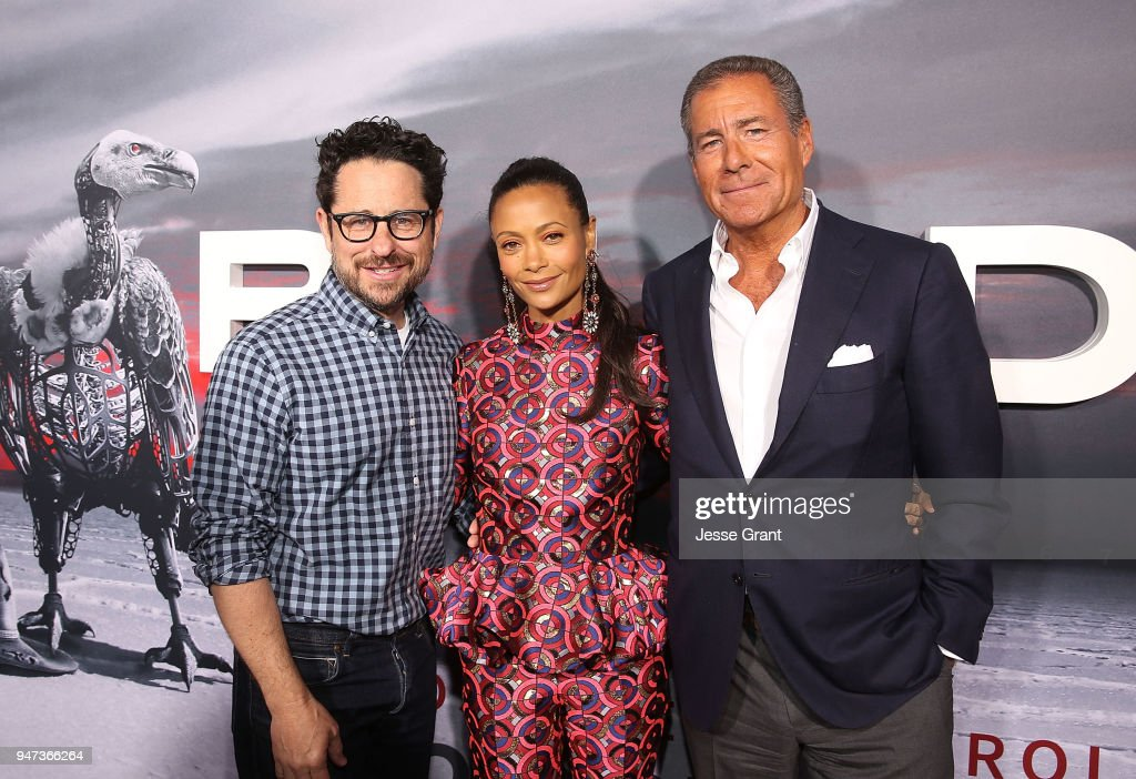 J.J. Abrams, Thandie Newton and President of HBO Richard Plepler attend the Premiere of HBO's 'Westworld' Season 2 at The Cinerama Dome on April 16, 2018 in Los Angeles, California.