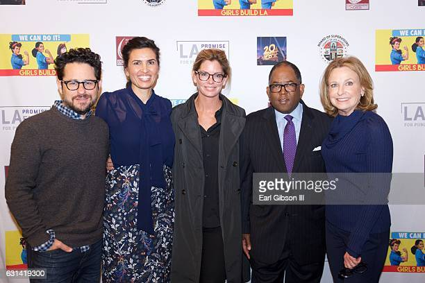 JJ Abrams Veronica Melvin guest Mark RidleyThomas and Megan Chernin attend the LA Promise Fund Screening Of Hidden Figures at USC Galen Center on...