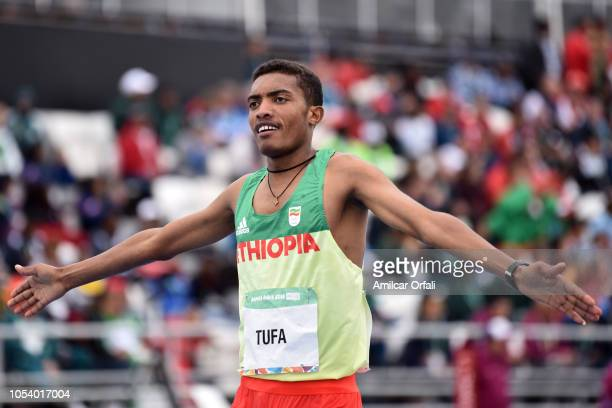 Abrham Sime Tufa of Ethipia celebrates after Men's 2000m Steeplechase Stage 1 during Buenos Aires 2018 Youth Olympic Games at Youth Olympic Park...