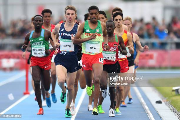 Abrham Sime Tufa of Ethipia leads in Men's 2000m Steeplechase Stage 1 during Buenos Aires 2018 Youth Olympic Games at Youth Olympic Park Villa...