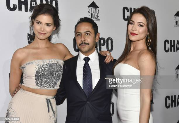 "Abril Schreiber, Humberto Busto, and Juliette Pardau attend the premiere of Univison's ""El Chapo"" at Landmark Theatre on April 19, 2017 in Los..."