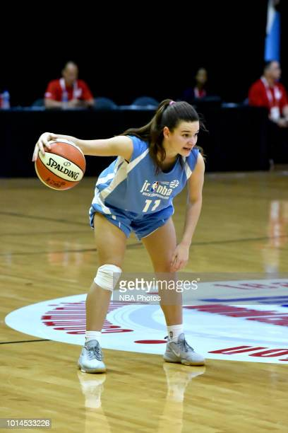 Abril Vernazza of South America Girls handles the ball against Canada Girls during the Jr NBA World Championships Tournament in Orlando Florida at...
