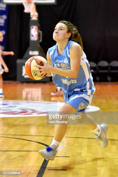 Abril Vernazza of South America Girls handles the ball against Europe Girls during the Jr NBA World Championship on August 8 2018 at the ESPN Wide...