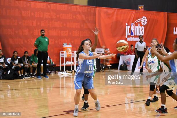 Abril Vernazza of South America Girls passes the ball against India Girls during the Jr NBA World Championships Tournament in Orlando Florida at ESPN...