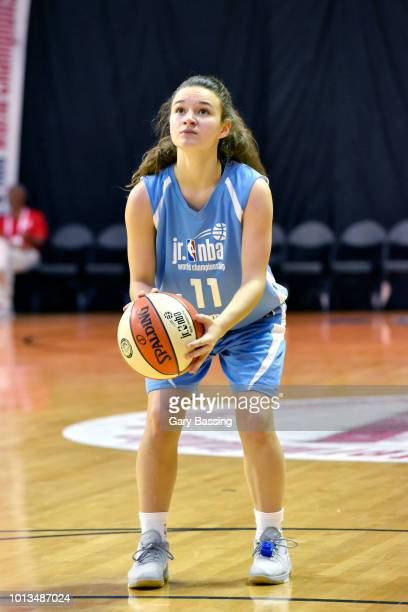 Abril Vernazza of South America Girls shoots a free throw against Europe Girls during the Jr NBA World Championship on August 8 2018 at the ESPN Wide...