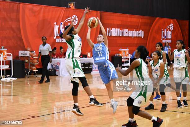 Abril Vernazza of South America Girls shoots the ball against India Girls during the Jr NBA World Championships Tournament in Orlando Florida at ESPN...