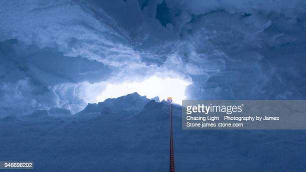 Abseiling into an icy crevasse