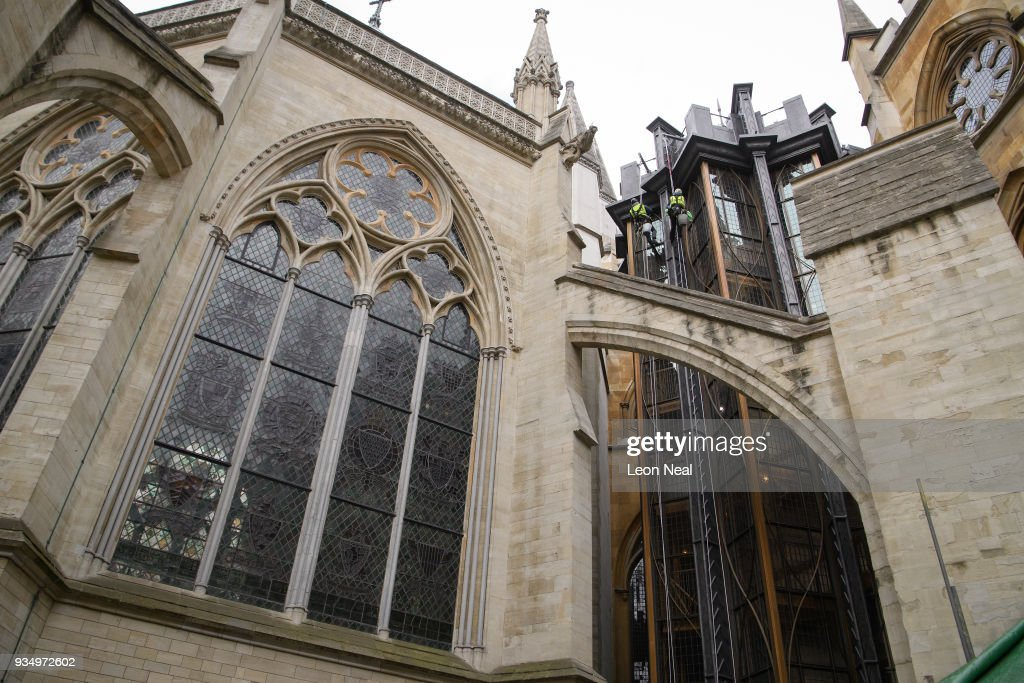 Window Cleaning Takes Place At The New Triforium At Westminster Abbey