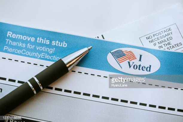 absentee mail-in voting ballot detail - voting by mail stock pictures, royalty-free photos & images