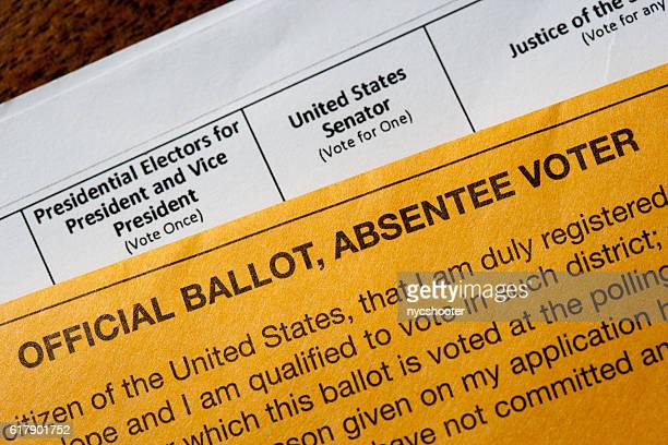 us absentee official voting ballot - absentee ballot stock pictures, royalty-free photos & images