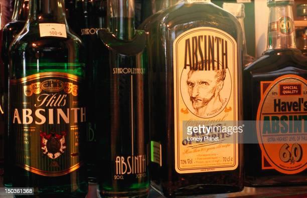Absinthe bottles.
