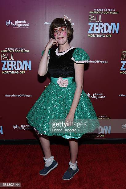Absinthe cast member Joy Jenkins arrives at the opening of Paul Zerdin's new show Paul Zerdin Mouthing Off at Planet Hollywood Resort Casino on May...