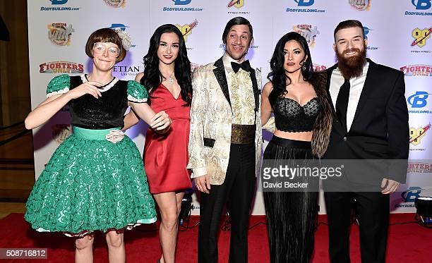 Absinthe cast members arrive at the eighth annual Fighters Only World Mixed Martial Arts Awards at The Palazzo Las Vegas on February 5 2016 in Las...