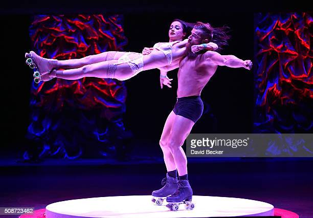 Absinthe cast members Billy England and his sister Emily England perform at the eighth annual Fighters Only World Mixed Martial Arts Awards at The...