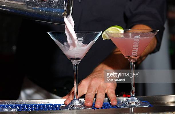 Absolut vodka martinis being made and served
