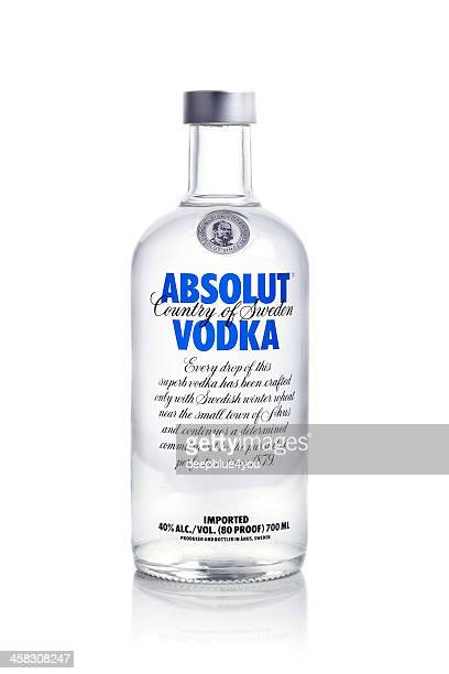 absolut vodka on white background - vodka stock pictures, royalty-free photos & images