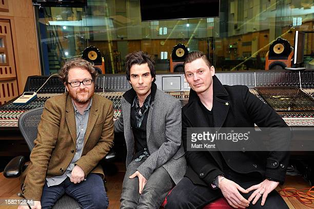 Absolute Radio presenter Geoff Lloyd with Kelly Jones and Richard Jones of Stereophonics prior to performing for the Absolute Radio Christmas...