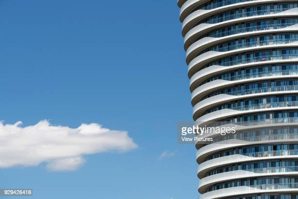 Absolute Towers, Mississauga, Canada. Architect: MAD Architects, 2012. Detail of the twisting structure of the Absolute Towers.