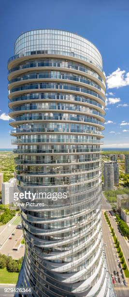 Absolute Towers, Mississauga, Canada. Architect: MAD Architects, 2012. View of the South Tower from the balcony of the North Tower.
