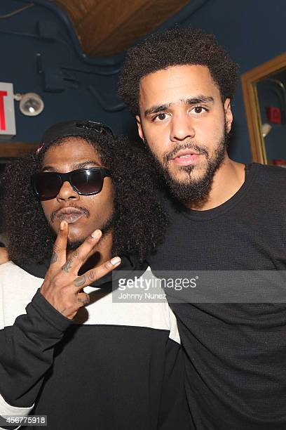 AbSoul and J Cole attend backstage at Irving Plaza on October 6 2014 in New York City
