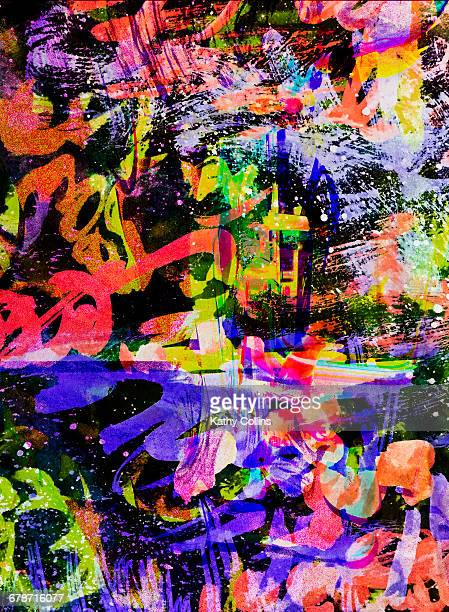 Absract expressionism painting.Gestural layers.