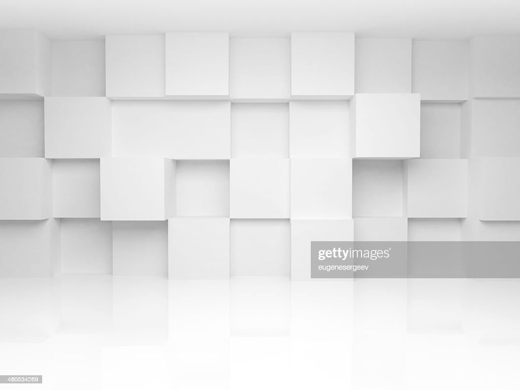 Abstract 3d architecture background with white cubes on the wall : Stockfoto
