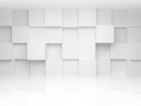 Abstract 3d architecture background with white cubes on the wall 480534269