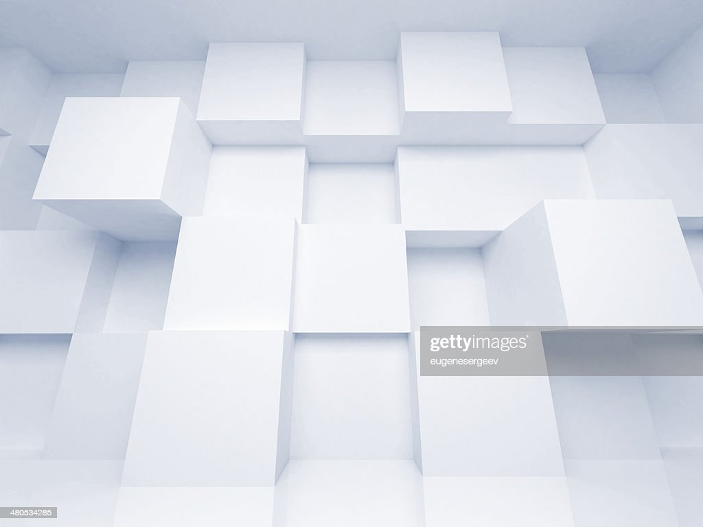 Abstract 3d architecture background with white cubes : Stock Photo
