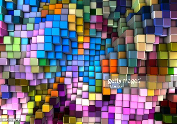 abstracte 3d achtergrond met verschillende kubussen - blokken stockfoto's en -beelden