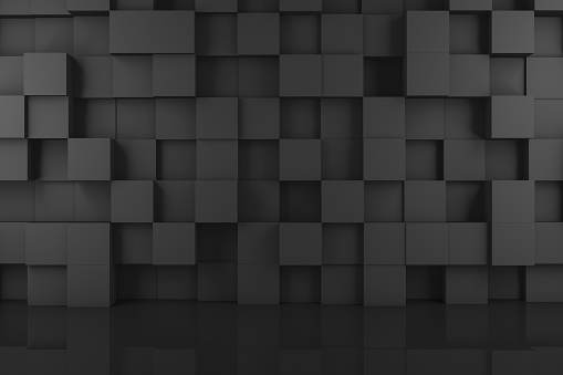 Abstract 3D Black Cube Wall Background 1138008438