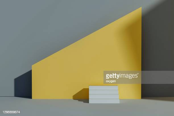 abstract 3d rendering minimal concept scene geometric shapes. white stairs podium yellow grey backgrounds - award stock pictures, royalty-free photos & images