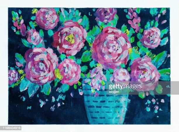 abstract acrylic roses bouquet flowers on vase on black textured background.  fine art acrylic painting on paper - mixed media stock pictures, royalty-free photos & images