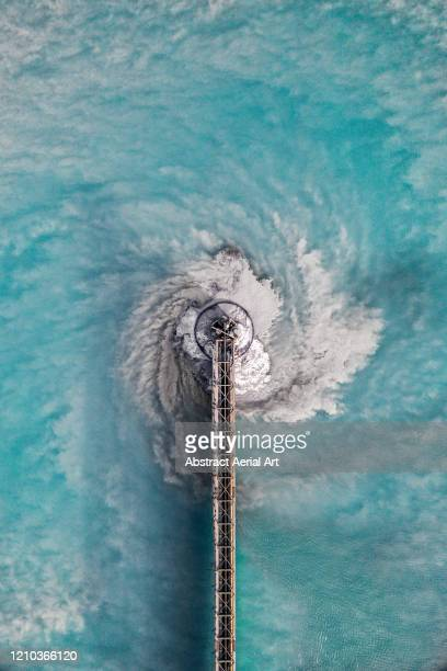 abstract aerial image of a water treatment pool, arizona, united states of america - agua purificada fotografías e imágenes de stock