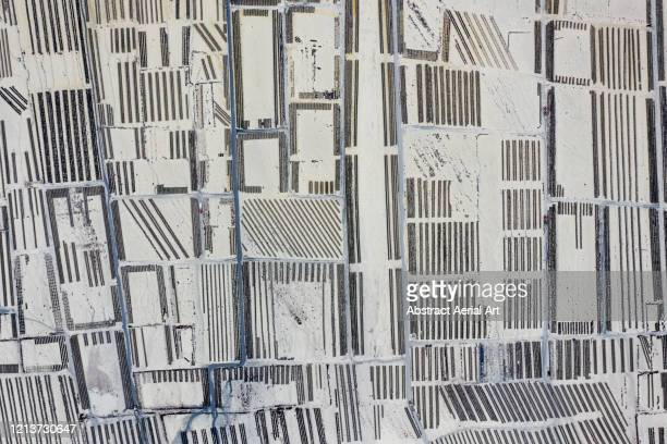 abstract aerial shot of an oyster farm, france - cancale photos et images de collection
