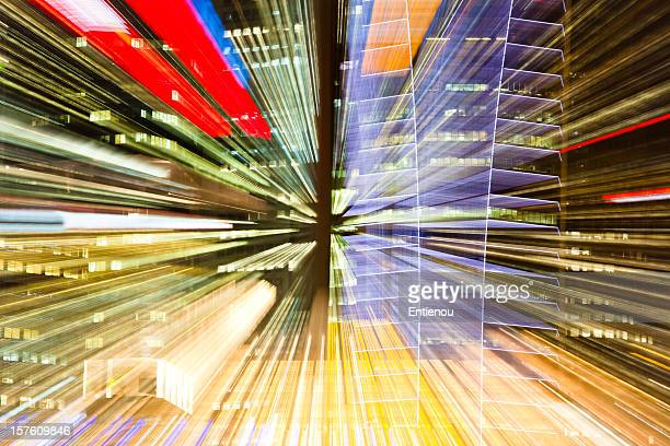 Abstract and colorful angled view of skyscraper