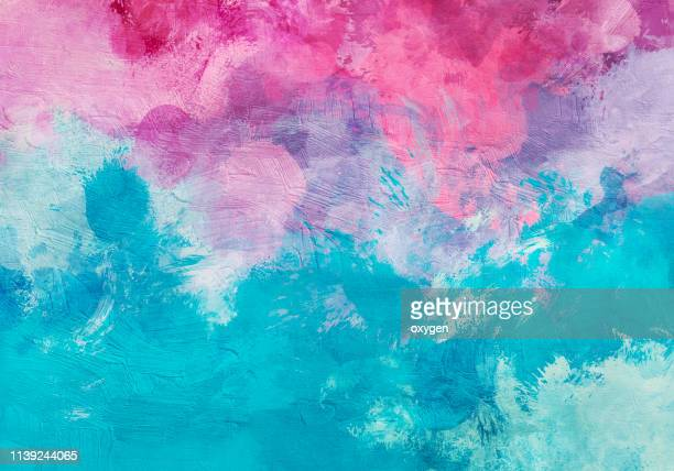 abstract aqua and pink texture background. digital illustration imitating oil painting on canvas - 油絵 ストックフォトと画像