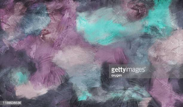 abstract aqua, purple and gray texture background. digital illustration imitating oil painting on canvas - art and craft stock pictures, royalty-free photos & images