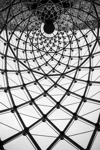 Abstract architecture curved steel beam glass roof in black and white