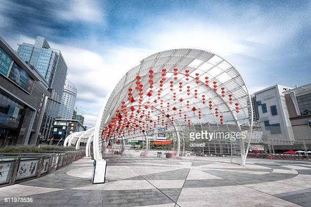 abstract architecture with red lanterns on square in shenzhen