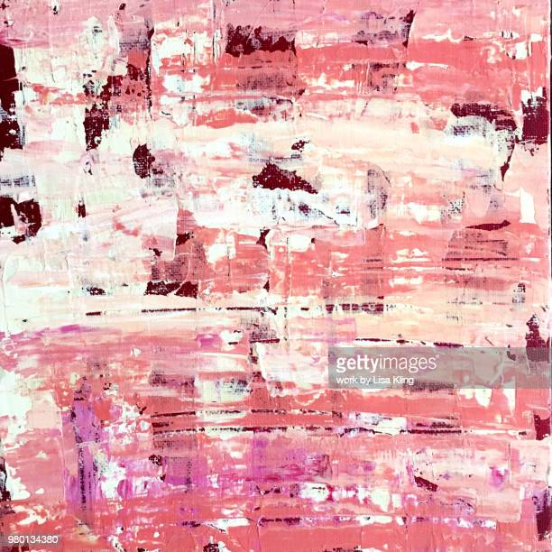 abstract art: coral colored boucle plaid palette knife painting - square composition stock pictures, royalty-free photos & images