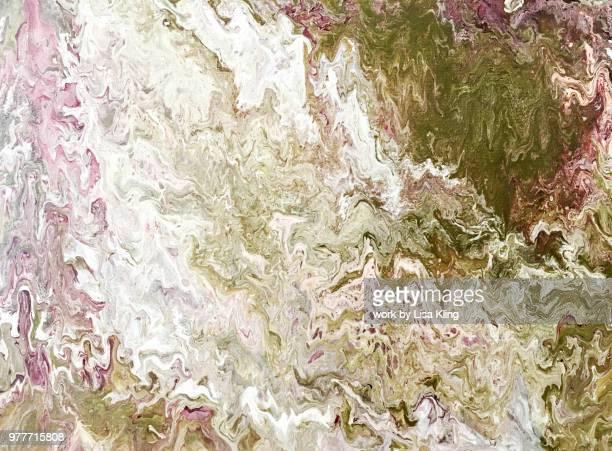 Abstract Art: marbleized snow capped mountain terrain